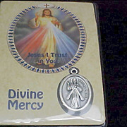 SALE Divine Mercy medal and Prayer Card ~ Old Stock - New