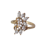 SALE 14KT Gold Vermeil/Sterling Cubic Zirconia Trademark DQ925 ~ COCKTAIL RING