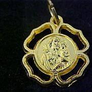 SALE St. JOSEPH & JESUS Open Cut Workmanship  Gold Plate Medal/Charm Signed ITALY