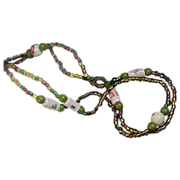 SALE Hand Painted Glass Beads Oval & Round and Variegated Crystals Sautoir Necklace