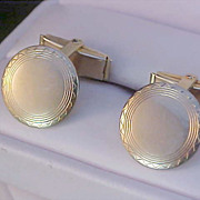 SALE 1950's Gold Plated Engravable Cuff Links