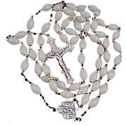 SALE REDUCED~ Luminous  Oblong  MOTHER-of-PEARL~CHAPEL, ITALY~Rosary~ Crafted in Silver Plate