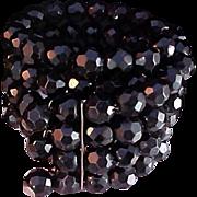 SALE Hand Cut Black Crystal Four Row Wired Wrap  Bracelet