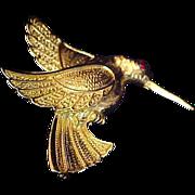 SALE HUMMINGBIRD~Red Ruby Eye~Gold Plate Brooch/Pin