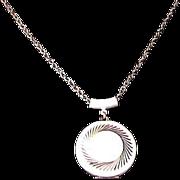 SALE LAVISH Locket~White Hard Enamel over Silver Plate & Chain Necklace