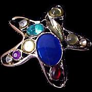 SALE Varied Sizes Bezeled  Glass RHINESTONE~ STAR Silver Plate Brooch/Pin