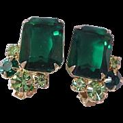 SALE High End Rectangle Green & Peridot Rhinestone Clip Earrings