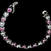 SALE STERLING Genuine Pink Sapphire & Clear Cubic Zirconia~Signed TM - FAL BRACELET