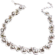 SALE Light OLIVINE  Crystals & Simulated Gray Pearl  Silver Plate Necklace