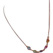 SALE LAVISH Oval  Bezel Set Birthstone Crystals ~ 10K Gold ~ Silver Vermeil 925 Necklace