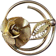 SALE Dimensional Rose ~ Sarah Coventry Gold Plate Brooch