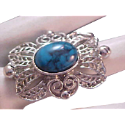 SALE Beveled Turquoise Cabochon~Silver Plate Filigree Forefinger Ring ~ Sz 6