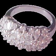SALE Lavish Multi-Swarovski Crystal Cocktail-Fashion Silver Plate Ring ~ Size 7 1/2