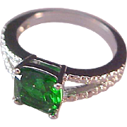 SALE Simulated Emerald Green Square Cut & Simulated Double Marcasite Silver Plate Ring~Sz 7 1/