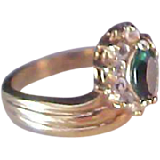 SALE Lovely Emerald Green Birthstone~Pave Diamante ~ Dark Rose gold Plate Setting Ring~ Size 9
