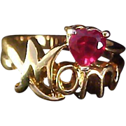 """SALE Precious Red Ruby Simulated HEART Gold Plate Script """"MOM"""" Gold Plate Ring."""