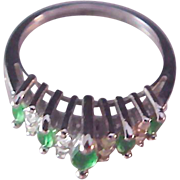 SALE Dazzling DOME Emerald Green Marquis Cut Crystal & Round Cut Clear Crystal Signed NV~Silve