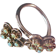 SALE Double Floral Simulated Turquoise Cabochon~Rose Gold Plate Ring ~ Size 5 1/2