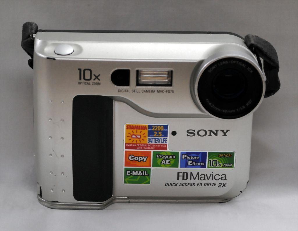 FREE SHIPPING USA - Sony Mavica MVC-FD75 0.4 MP Digital Camera - Metallic Silver Metal
