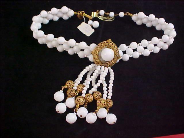 RARE ~ MIRIAM HASKELL~Milk White Glass~RUSSIAN Gold Filigree~3 Strand  Necklace - MINT/w Original Tags