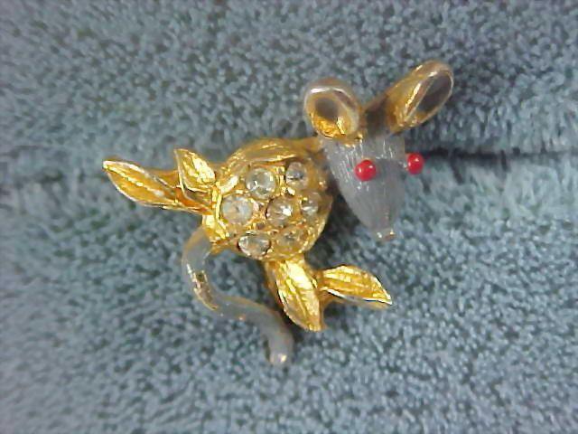 Gray & Red Enamel & Rhinestone Figural  MOUSE Pin