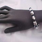 SALE Black & White POLKA DOT Glass Bead Bracelet