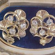 SALE MID CENTURY CORO - Diamante & Gilt Gold Open Workmanship Clip Earrings