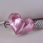 SALE NINA RICCI for Avon Pink Sapphire Crystal Heart & Arrow lapel Pin Circa 1964 - SignedGerr