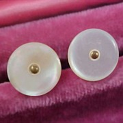 SALE 1904 MOTHER-of-PEARL Mens Cuff Links -Gilt Gold Buttons