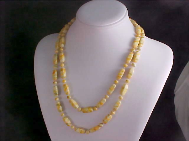 Yellow - Green & Ivory  Oblong & Round Bead Sautoir Necklace
