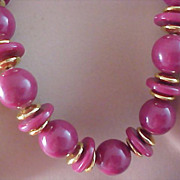 SALE DYNAMIC DUSTY ROSE Graduated Beads & Gilt Spacer Long Sautoir Necklace - Circa 1950