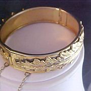 SALE Victorian Style  Leaf Design Chased Bangle with Safety Chain