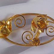 SALE Amber Rhinestones & Gold Plate Ornate Brooch