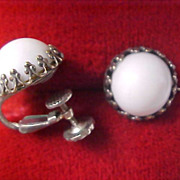 SALE Dramatic ~ White Milk Glass Silver Plate MIRIAM HASKELL Clip Earrings