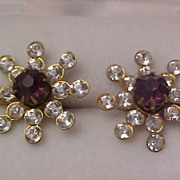 SALE Lavish Amethyst & Diamante Rhinestone 1930's Screw Back Earrings