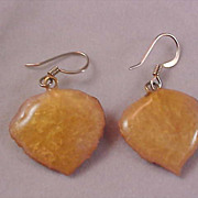 Reduced~ Exquisite CELLULOID Autumn Leaf French Wire Dangle Earrings