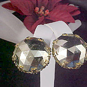SALE Gilt Gold Faceted Large Stone Clip Earrings
