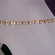 SALE MONET - Diamante Prong Set Rhinestone and  Gold Plate Tennis Bracelet