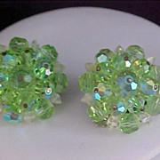 SALE LAGUNA - Peridot & Clear Crystal Bicone Hand Wired Earrings