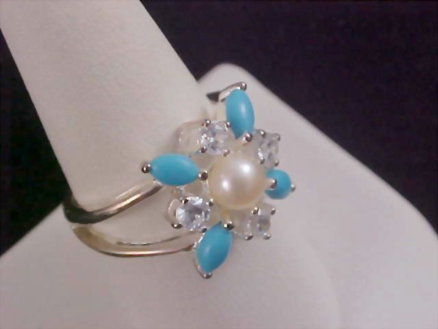 Simulated Pearl - Turquoise & Diamante Sterling Silver Ring by AVON