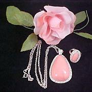 SALE Ask for 50% Off~AVON's  BOOK PIECES  Pink Coral Pale Fire Demi - Pendant Necklace & M