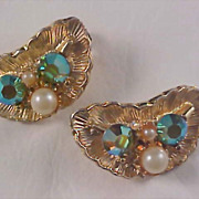 SALE Holiday Pizazzzz - Gilt Gold - Aurora Borealis & Simulated Pearl Clip Earrings