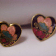 SALE DYNAMIC Cloisonne HEART Post Earrings