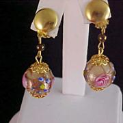 SALE Fabulous WEDDING CAKE GLASS Beads - Gilt Gold Capped Clip Earrings