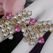 SALE Lavish  Clear & Pink Sapphire AUSTRIAN CRYSTAL Gold Plate Brooch
