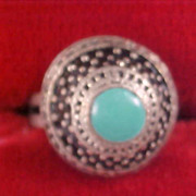 SALE Exquisite Simulated Turquoise Dome Shaped Silver Plate Ring -Size 7 - Adjustable
