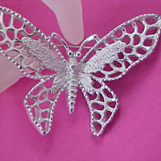 SALE Lovely & Substantial Silver Plate Sarah Cov BUTTERFLY BROOCH