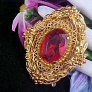 SALE VICTORIAN INSPIRED ~Orange Czech Oval Glass Stone Gold Plate Brooch