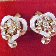 SALE CORO Script Trademark-Circa 1950's - Diamante and Enamel Screw Earrings