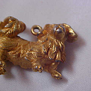 SALE Adorable CHOW Dog Gold Plate  Pendant